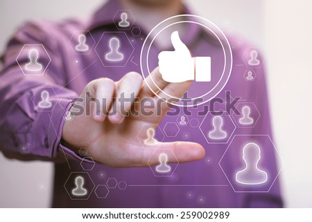 Business button like sign web icon - stock photo
