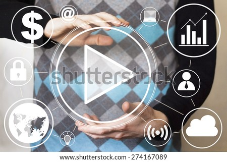 Business button play icon connection online - stock photo