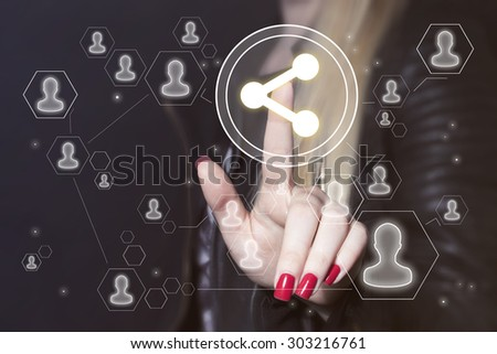 Business button share connection sign communication