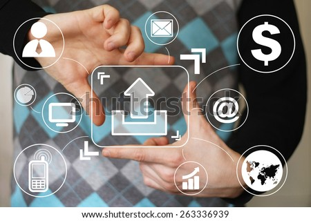 Business button upload connection sign virtual - stock photo