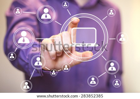 Business button web media connection communication computer