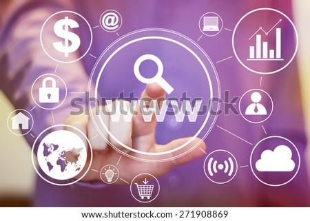Business button www search web virtual set - stock photo