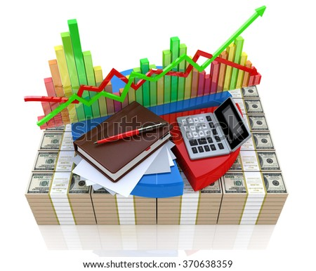 Business calculation - analysis of financial market in the design of information related to business and economy - stock photo
