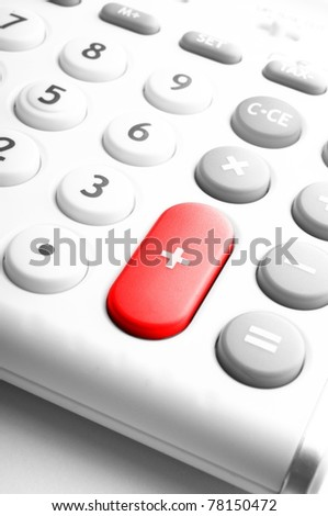 business calculation concept with modern white calculator - stock photo