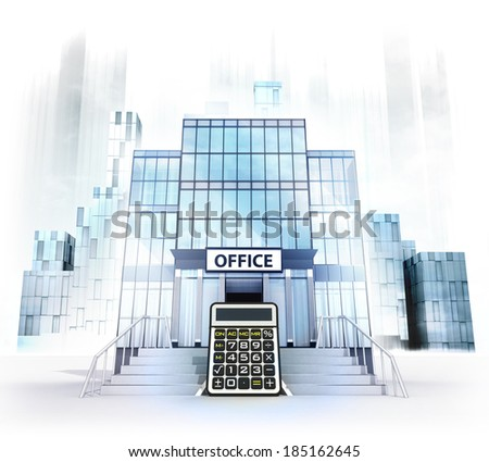 business calculation in front of office building as city concept render illustration - stock photo