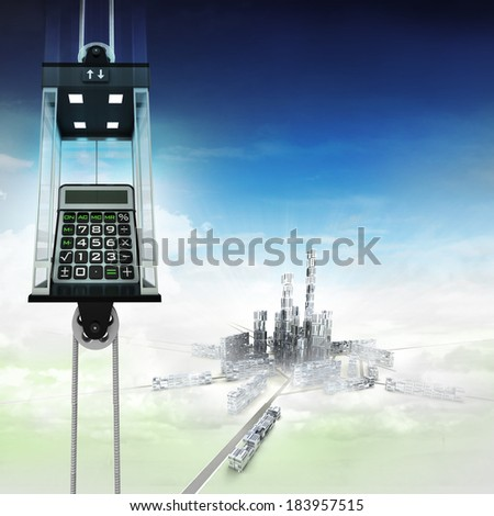 business calculator in sky space elevator concept above city illustration