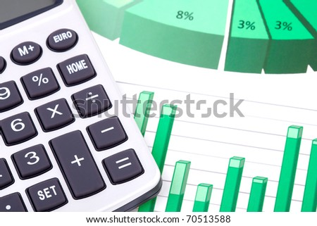 Business! - calculator with charts - stock photo