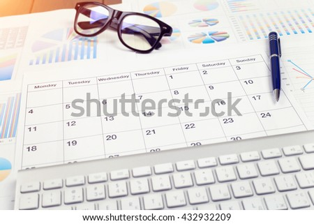 Business calendar, Planning. Desktop Manager. View from above.  - stock photo