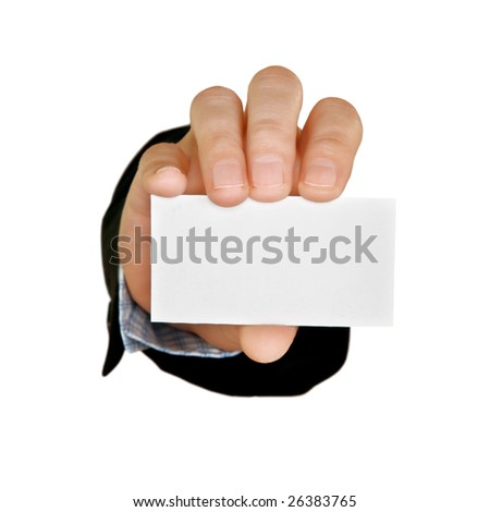 business-card and hand isolated on white