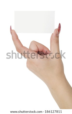 business card and woman hand isolated on a white background