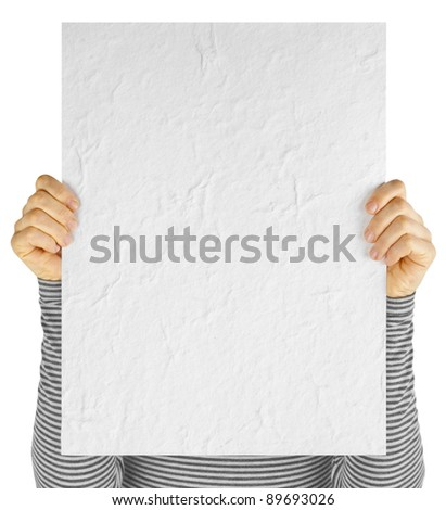 business card blank in a hand - stock photo