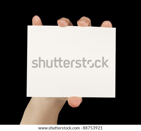 business card blank isolated in a hand on the white backgrounds - stock photo