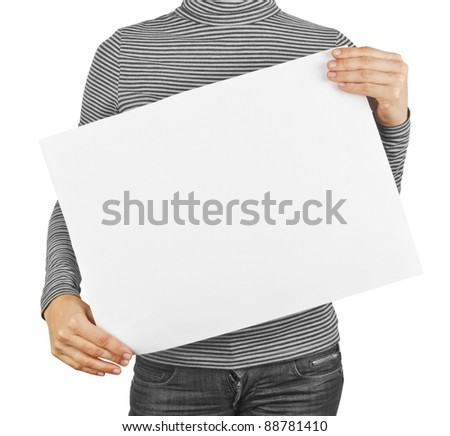 business card blank isolated in a hand on the white backgrounds