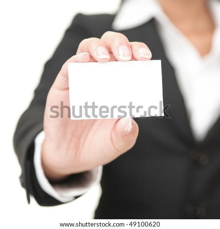 Business card closeup - businesswoman in black suit holding blank empty sign. - stock photo