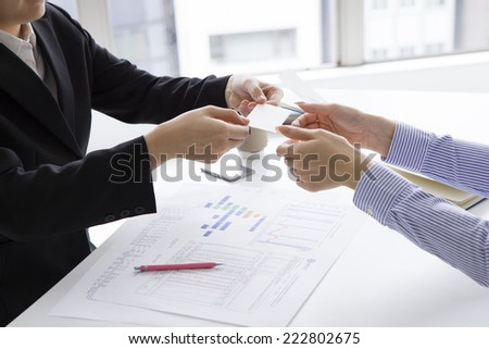 Business card exchange - stock photo
