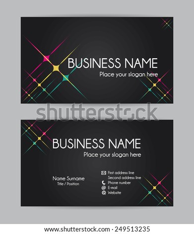 Business card. Flat design. Front and back set III. - stock photo