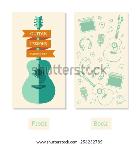 Business card guitar lessons for beginner - stock photo