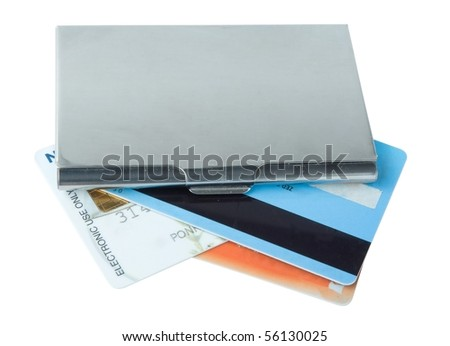 business card holder case with bank card - stock photo