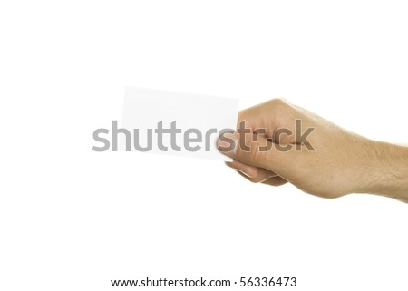 Business card in a man's hand. Isolated on white background