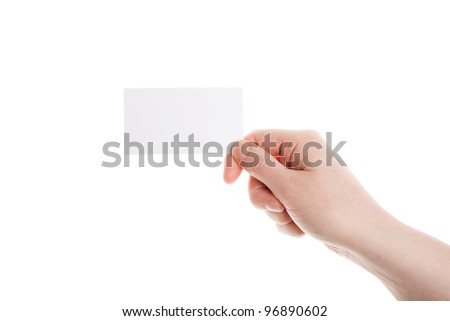 Business card in female hand isolated on white - stock photo
