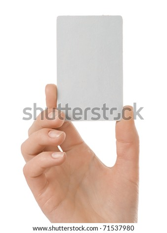 Business card in female hand. Studio isolated. - stock photo