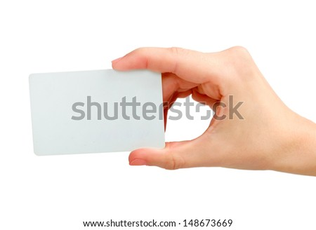 Business Card in hand isolated - stock photo