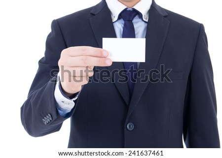 business card in male hand isolated on white background - stock photo