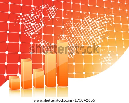 Business card in orange with chart and map - stock photo