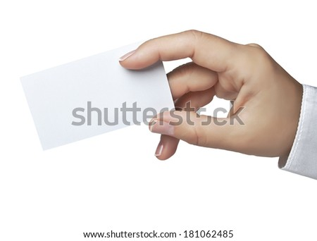 Business card in the hand - stock photo