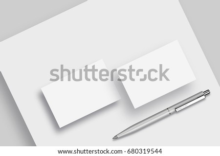 Business card letterhead silver pen mock stock illustration business card letterhead and silver pen mock up isolated background close up colourmoves