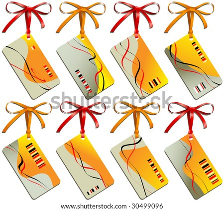 Business card of sand color with bows