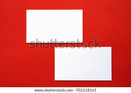 Business card on color background.