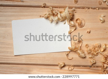 business card on wooden table for tools - stock photo