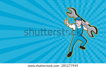 Business card showing Cartoon illustration of a mechanic worker carrying giant spanner wrench holding thumb up on isolated white background. - stock photo