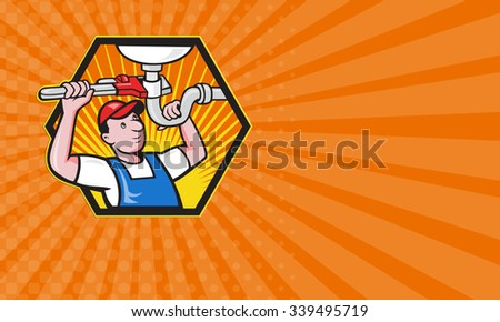 Business card showing Cartoon illustration of a plumber worker repairman tradesman with adjustable monkey wrench repairing bathroom sink set inside hexagon. - stock photo