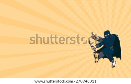 Business card showing Cartoon style illustration of a masked ninja warrior superhero holding sword and knife kicking viewed from front on isolated white background. - stock photo