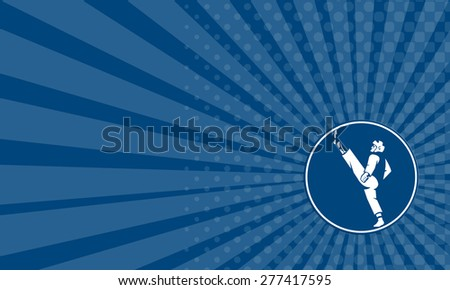 Business card showing icon illustration of a man in taekwondo fighter kicking stance viewed from side set inside circle on isolated background done in retro style. - stock photo