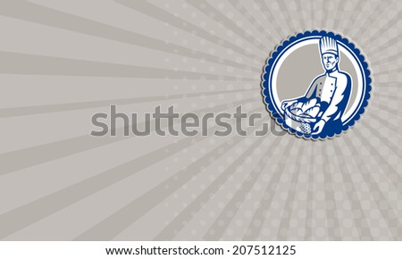 Business card showing illustration of a baker chef cook holding basket filled with loaf of bread facing front set inside circle done in retro style. - stock photo