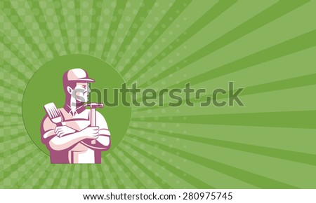 Business card showing illustration of a carpenter construction worker with paint brush and hammer looking to side done in retro style set inside circle. - stock photo