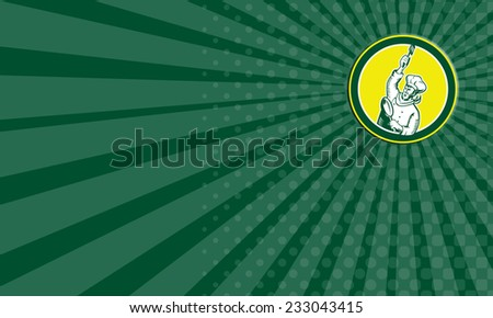 Business card showing illustration of a chef cook baker holding spatula and pan revolution style facing side set inside circle on isolated background done in retro woodcut style.  - stock photo