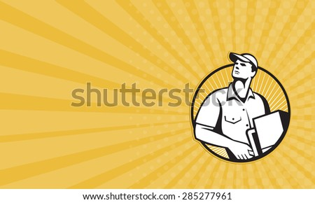 Business card showing illustration of a delivery man worker pushing dolly pushcart loaded with carton facing front set inside circle done in retro style. - stock photo