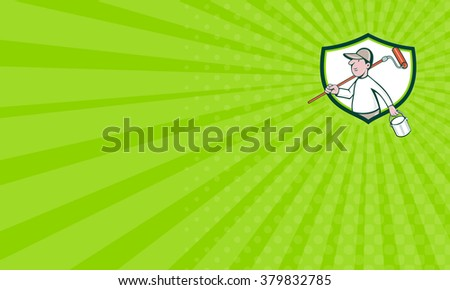 Business card showing illustration of a house painter handyman holding paintroller on shoulder and paint can on the other hand done in cartoon style. - stock photo