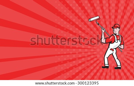 Business card showing illustration of a house painter with paint roller painting isolated on white done in cartoon style.