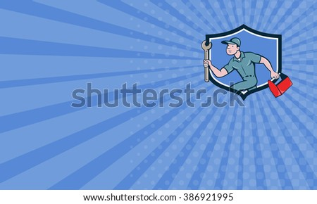 Business card showing illustration of a mechanic carrying spanner wrench and toolbox running viewed from the side set inside shield crest on isolated background done in cartoon style. - stock photo