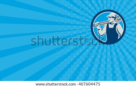 Business card showing illustration of a mechanic holding spanner on shoulder looking to the side set inside circle on isolated background done in retro style.  - stock photo