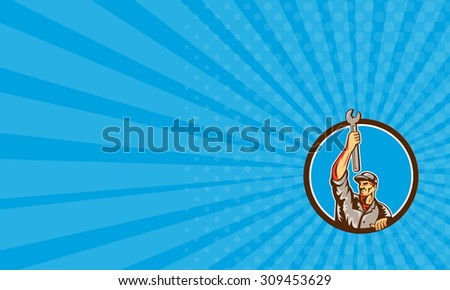 Business card showing illustration of a mechanic lifting raising up spanner wrench looking to the side set inside circle on isolated background done in retro style.  - stock photo