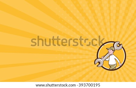 Business card showing illustration of a mechanic wearing hat holding monkey wrench spanner on shoulder walking viewed from the side set inside circle on isolated background done in cartoon style.  - stock photo