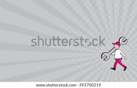 Business card showing illustration of a mechanic wearing hat holding monkey wrench spanner on shoulder walking viewed from the side set on isolated white background done in cartoon style.  - stock photo