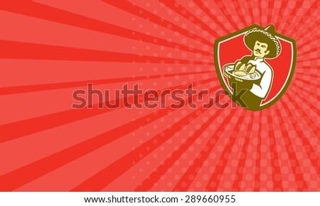 Business card showing illustration of a Mexican chef cook wearing hat sombrero serving plate with tacos on isolated background set inside shield crest done in retro style.  - stock photo