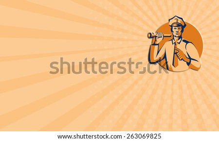 Business card showing illustration of a policeman police officer holding torch flashlight pointing facing front  set inside circle on isolated background done in retro style. - stock photo